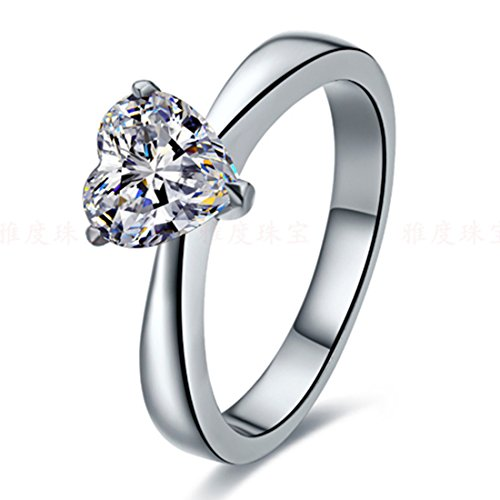 Sterling Silver 1CT NSCD Simulated Diamond Heart Shape Ring Solitaire Engagement for Women (Setting Carat Solitaire 1 Ring)