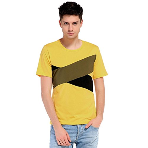 TOOPOOT Mens Sport Clothes Cotton Blended T Shirt Polo Shirts (L, yellow)