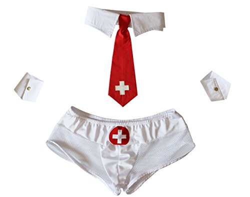 Esquki Mens Sexy Nurse Lingerie Costume With 3 accessories - Male Sexy Costumes