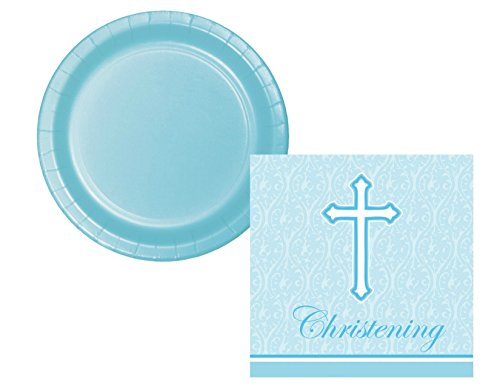 (Faith Blue Christening Plate and Napkin Bundle for 18)