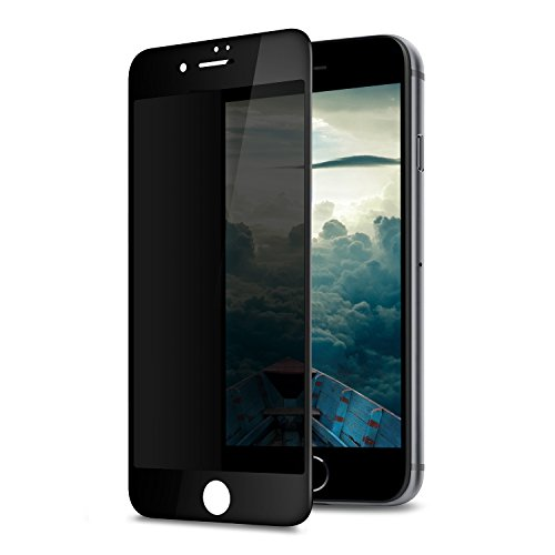 GLASS-M Privacy Screen Protector for iPhone 7 Plus, Anti-spy Edge to Edge Full Cover Tempered Glass, Anti-Fingerprint Screen Protector Film, 9H Hardness Case Friendly Premium Protection Shield - Black]()