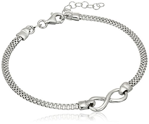 Italian Sterling Silver Infinity Bracelet, 7''+ 1'' Extender by Amazon Collection