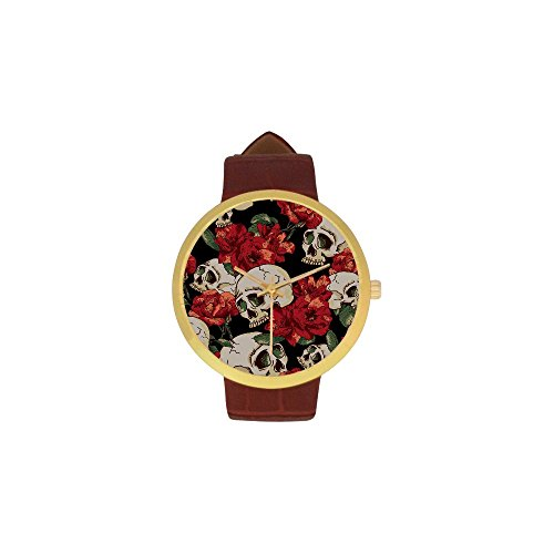 Catrina Makeup And Costume (Women's Sugar Skull Dia De Los Muertos Stainless Steel Leather Strap Waterproof Band Wrist Watch)