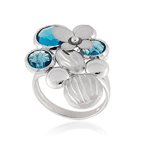 Gioiello Italiano - 14kt white gold ring with topaz by Gioiello Italiano