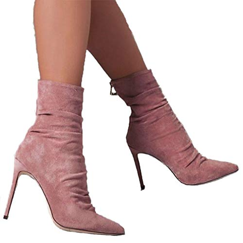 (ChyJoey Womens Fashion Stretchy Socks Ankle Bootie High Heel Zipper Pointed Toe Slouchy Sexy Suede Boots Pink)