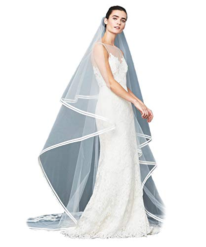 Passat Ivory XLCathedral 2 Tier Alencon lace double row of silk taffeta bias bands Cathedral Wedding Veil ()