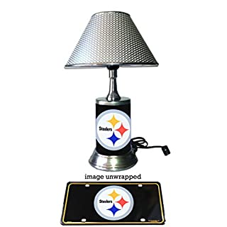 Nfl lamp shade do it yourselfore js table lamp with chrome shade pittsburgh steelers plate rolled in on the lamp base mozeypictures Image collections