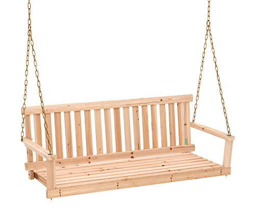 Wooden Outdoor Swing - Jack Post Jennings Traditional 4-Foot Swing Seat with Chains in Unfinished Cypress