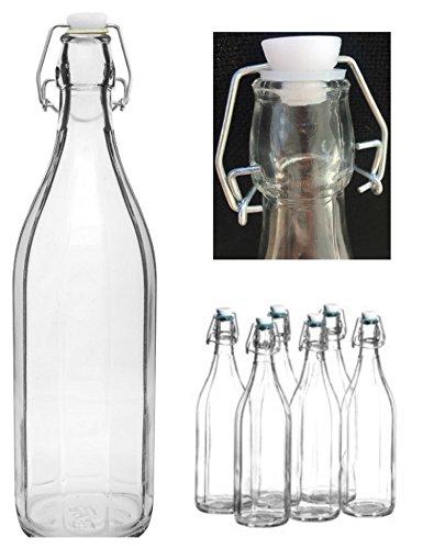 Paquete de botellas de 1 con tapa abatible de vidrio transparente y estilo clásico
