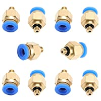 ZXHAO One touch hose Connector 6mm/0.24 inch Thread M5 Pneumatic Air Straight Fitting (PC6-M5) 10pcs