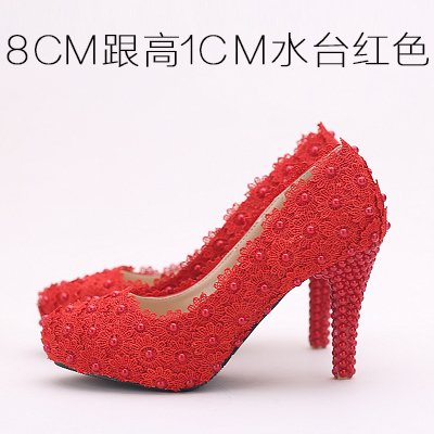 8Cm Heeled Waterproof Shoes Sandals VIVIOO Pearl Wedding Round Shoes Bridal 9 Pink Shoes Toe Prom White Lace Women's Flowers High Red Red Color Heel qz0RC0w