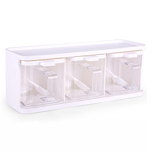 Japanese-style White Seasoning Box Set, Kitchen Storage Seas