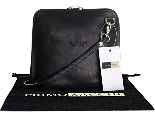 Hand Italian Includes Handbag Cross Bag Soft Shoulder Black Primo Sacchi Body Bag Bag Branded or Protective Leather Small Made Micro Storage a Zwpqn6I5x
