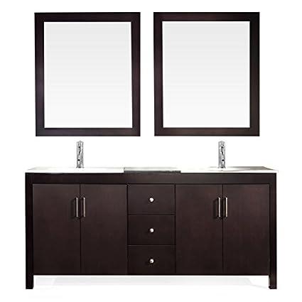 ARIEL 48 Inch Double Sink Bathroom Vanity Set In Espresso Cool 72 Inch Bathroom Vanity Double Sink