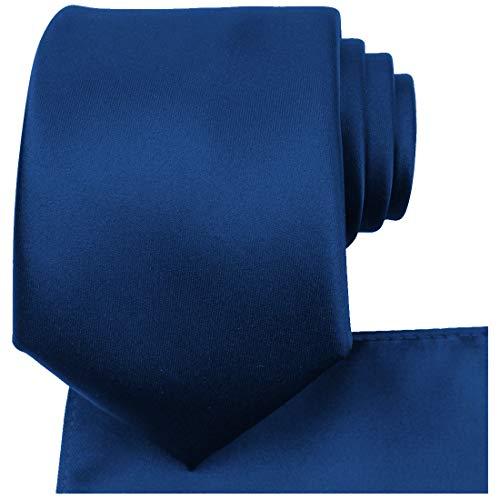 KissTies Navy Blue Tie Necktie Satin Wedding Ties + Pocket Square + Gift -