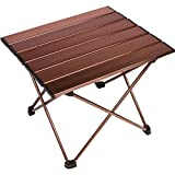 Portable Camping Side Tables with Aluminum Table Top: Hard-Topped Folding Table in a Bag for Picnic, Camp, Beach, Boat, Useful for Dining & Cooking with Burner, Easy to Clean