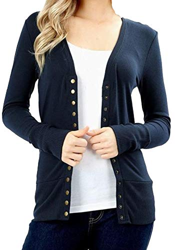 ClothingAve. Women's Snap Button 3/4 Or Long Sleeve Sweater Cardigan with Ribbed Detail Collection (S-3X) (Long Sleeve - Midnight, Medium)