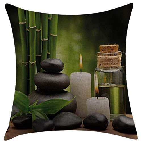 Mugod Decorative Throw Pillow Cover for Couch Sofa Home Decor,Spa Hot Massage Rocks Combined with Candles and Scents Landscape of Bamboo Green White and Black Pillow case 18x18 Inch -