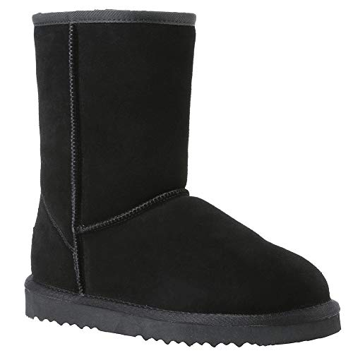Veilante Waterproof Winter Snow Boots-Womens Classic Mid-Calf Slip On Genuine Leather Half Anti-Slippy EVA Sole Winter Warm Women Shoes with Fur Black Color US Size 5 Small 8 Inches Shaft