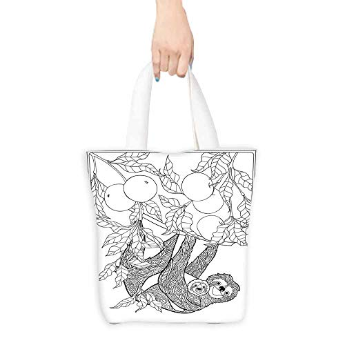 - Cosmetic bag,Sloth Lovely Sloth with Its Baby in Forest Tree Outline with Ripe Fruits Cheering Nature,Fits in Pocket Waterproof & Lightweight,16.5