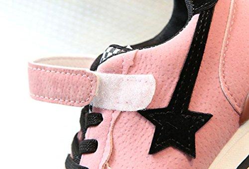 TPulling Mode Junge Und Mädchen Martin Stiefel Herbst Und Winter Stiefel Sterne Sportschuhe Rutschfeste Turnschuhe Plattenschuhe Lässige Schuhe Rosa