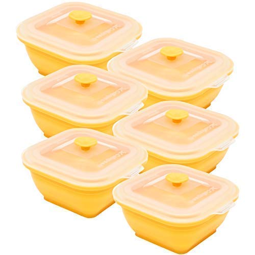 - Collapse-it Silicone Food Storage Containers - BPA Free Airtight Silicone Lids, 6 Piece Set of 2-Cup Collapsible Lunch Box Containers - Oven, Microwave, Freezer Safe