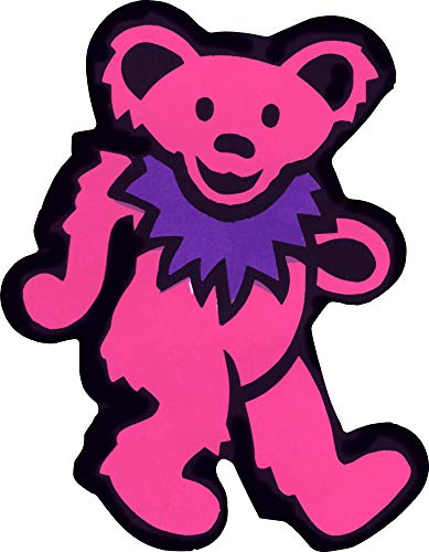 (Dancing Bear - Pink with Purple Necklace - Bumper Sticker / Decal)