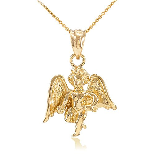 Gold Guardian Angel Charm (Polished 14k Yellow Gold Guardian Angel Charm Pendant Necklace, 20