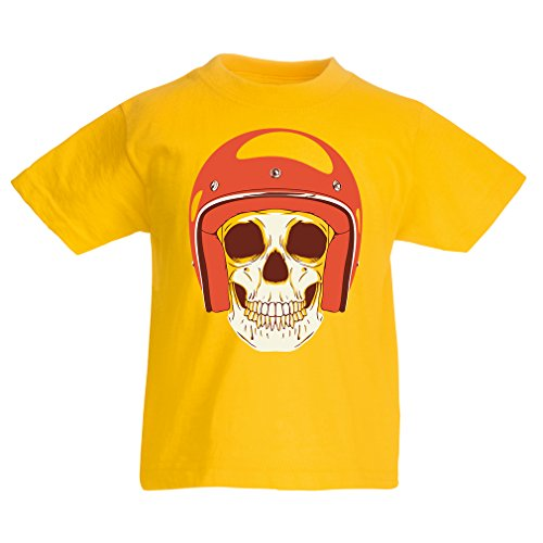 T Shirts for Kids Moto Skull with Cap Helmet- Motorcycle Clothing, Motorbike Apparel, Riding Gear (3-4 Years Yellow Multi Color)