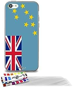 """Carcasa Flexible Ultra-Slim APPLE IPHONE 5C de exclusivo motivo [Tuvalu Bandera] [Gris] de MUZZANO  + 3 Pelliculas de Pantalla """"UltraClear"""" + ESTILETE y PAÑO MUZZANO REGALADOS - La Protección Antigolpes ULTIMA, ELEGANTE Y DURADERA para su APPLE IPHONE 5C"""