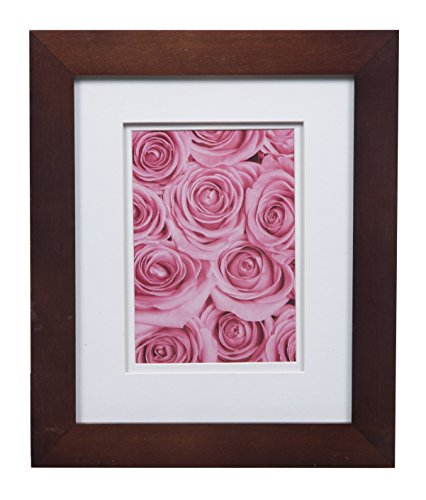 Gallery Solutions Flat Tabletop or Wall Picture White Photo 8X10 Walnut Double Frame, MATTED to 5X7, 8