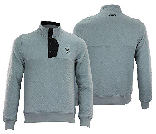 (Spyder Mens Mens Quilted Pullover Fleece Steel XL)
