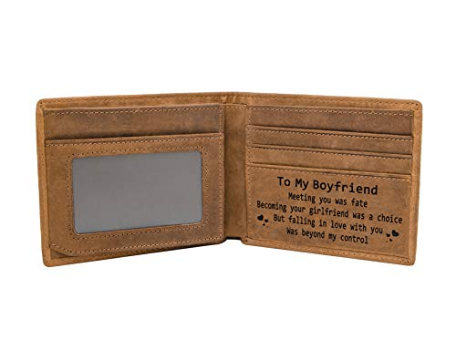 Personalized Boyfriend Bifold Wallet - Engraved Leather Men Wallet - The Perfect Boyfriend Anniversary Valentine's Christmas Gift (Wallets-For Boyfriend) (Best Christmas Gift For My Boyfriend)
