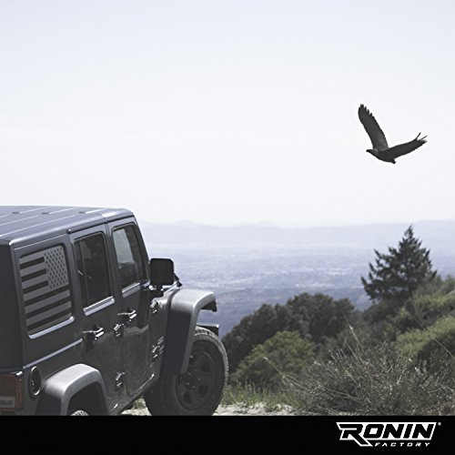- Ronin Factory - Jeep American Flag Window Decal Accessory - 2007+ JKU & JLU - Matte Black Vinyl - Trimming Knife Included