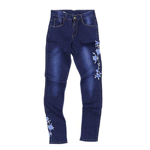 Brodé s Jeans Foncé Taille Femmes Bleu Luoem Haute q7pxwI6q1