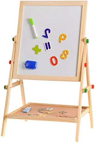 おもちゃイーゼル 子供のイーゼルボード幼児教育玩具アジャスタブルデラックス磁気立ちアートイーゼルは2 1で両面 安定したデザインと健康的な素材
