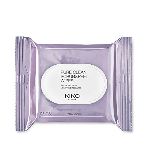 KIKO MILANO - Makeup Remover Pure Clean Scrub and Peel with two-side wipes. A package of 20 wet wipes that both exfoliate and refresh the face. Exfoliator and wipe, 2-in-1. by Kiko