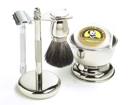 Shaving Gift Set with Merkur Safety Razor, Bowl, Shaving Soap, Badger Brush, Stand and Safety Razor, Great Gift Idea for...