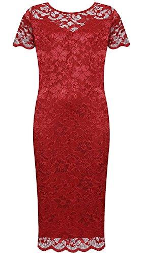 Wine Dress Womens Floral Round Dress Print Ladies Neck Short 21FASHION Bodycon Midi Sleeve Lace Party Fancy w1FpqZ6