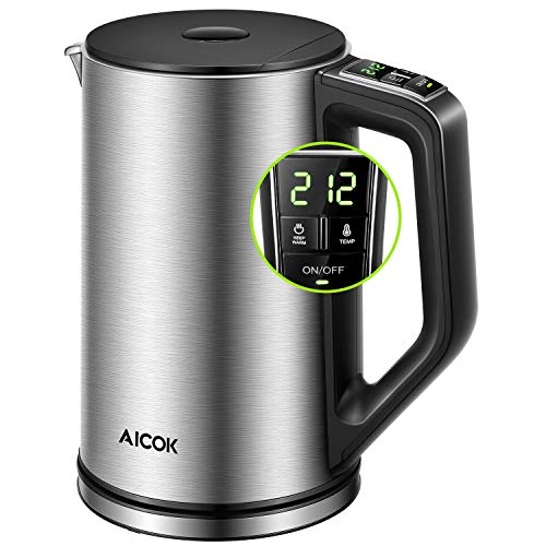 Electric Kettle Temperature Control (PRO), Double Wall 100% Stainless Steel Kettle with Real Time LED Display, Safe Touch and Cordless Tea Kettle, SpeedBOil System Fast Heating and Smart Warming Function, 3 Year Warranty, Aicok ()