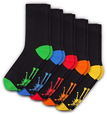 BLOTS Cute Cotton Socks for Men & Women - 5 Pack Black Orange & Colorful Cat Socks - Casual Funny Animal Socks