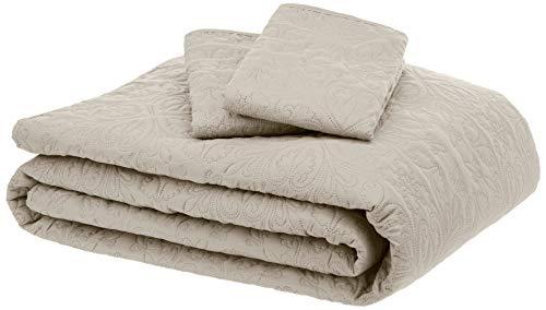 AmazonBasics Oversized Quilt Coverlet Bed Set - King, Beige Floral from AmazonBasics