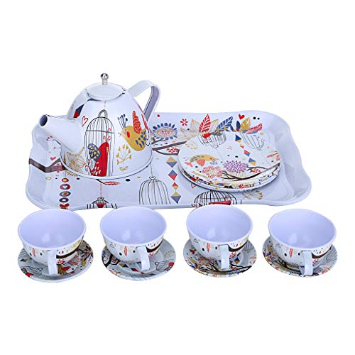 Alelife Children's Pretend Toy Deluxe Afternoon Tin Tea Set & Carry Case-Bird - Tin Case Deluxe