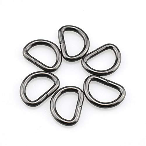 HAO PRO Extra Thick 3mm Welded Strong D Shape Rings D Ring Metal Heavy Duty Black 0.62