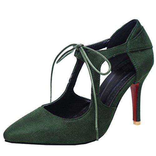 YE Damen High Heels Pumps mit Schnürung Spitze Stiletto Modern Elegant 9cm Absatz Abend Schuhe Grün