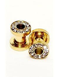 Hypoallergenic Surgical steel Gold Open Ear Gauge W/clear stones