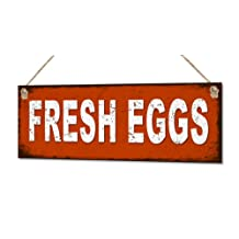 Fresh Eggs Small Metal Tin Sign Rustic Farm Plaque Country Shabby