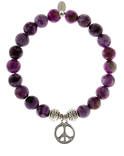 EvaDane Natural Sugilite Gemstone Tibetan Bead Peace Sign Charm Stretch Bracelet - Size 9 Inch ( 1_SUG_S_T_PEA_9)
