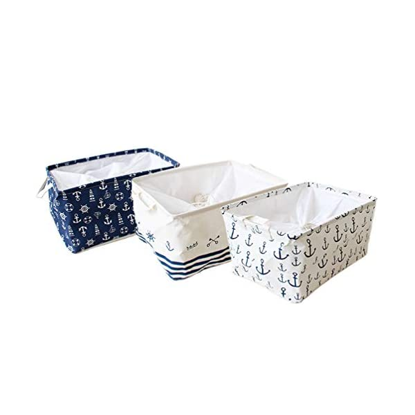 Orino Waterproof Nursery Nautical Fabric Large Storage Baskets with Drawstring Beach Anchor Theme Collapsible Storage Bins Mediterranean Style for cloth, toys, books,sundries, Set of 3(17.5x12x9) inch