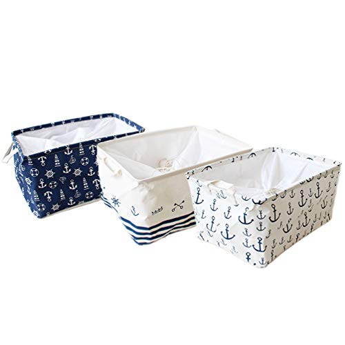 Orino Waterproof Nursery Nautical Fabric Large Storage Baskets with Drawstring Beach Anchor Theme Collapsible Storage Bins Mediterranean Style for cloth, toys, books,sundries, Set of 3(17.5x12x9) inch]()
